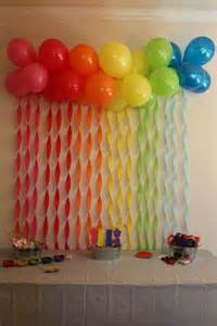 balloon decoration for birthday at home rainbow streamers and balloons troll party party