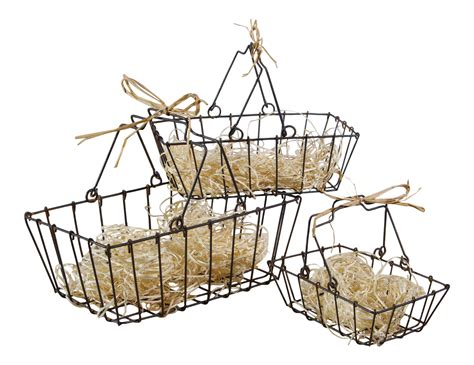 vintage style small metal wire nesting market baskets set