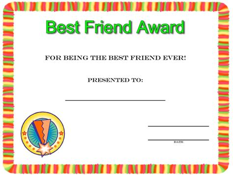 free best friend card templates friendship day best friend award certificate to print