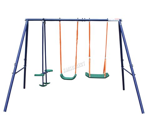 swing set metal frame foxhunter outdoor garden kids double seat metal frame
