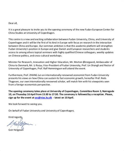 Invitation Letter Format For Inauguration 34 sle invitation letter