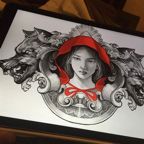 red riding hood tattoo wolf on left back shoulder by elvin yong