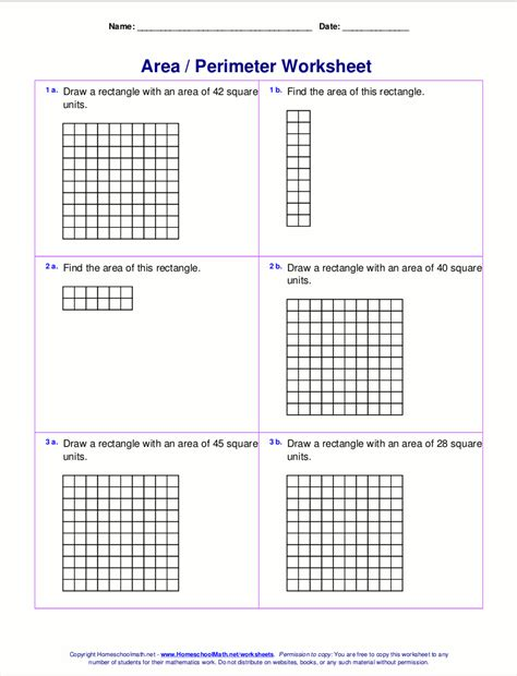 rectangle square area and perimeter worksheets rectangles and squares