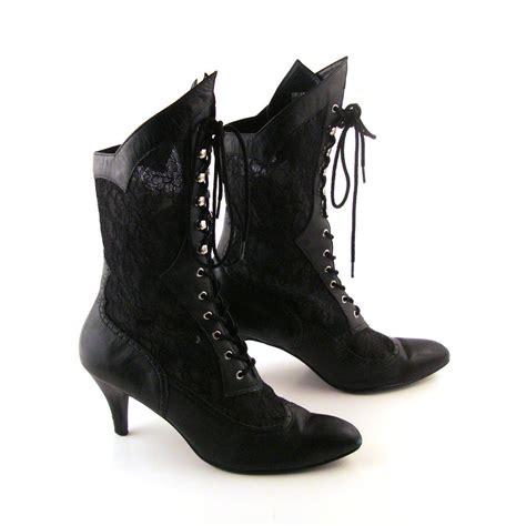 vintage high heel boots reserved black lace boots vintage boots 1980s high heel lace