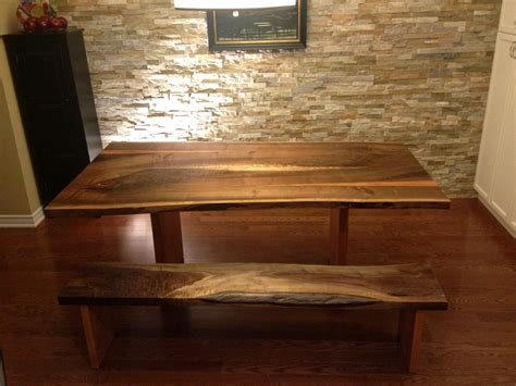walnut dining table and bench live edge dining room tables toronto
