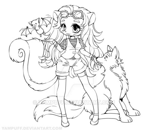 anime doodle characters mermaids and dragons coloring book volume 1 books skunk with wolf and bat lineart commission by
