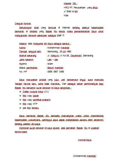 format surat lamaran kerja doc contoh format surat lamaran kerja doc yang baik