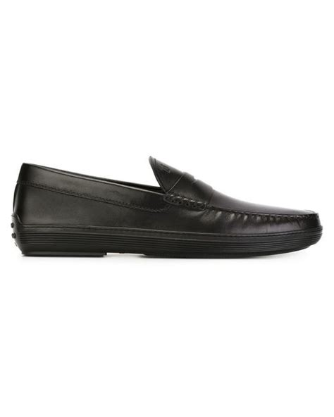 mens loafers rubber soles tod s rubber sole loafers in black for lyst