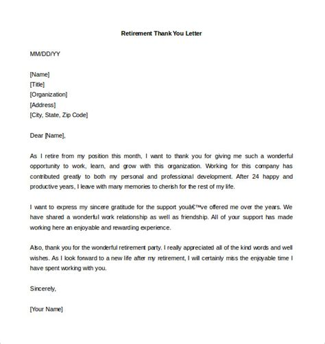 thank you letter on retirement to an employee retirement letter template 12 free word pdf documents