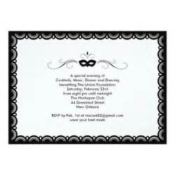 black and white masquerade ball invitation card