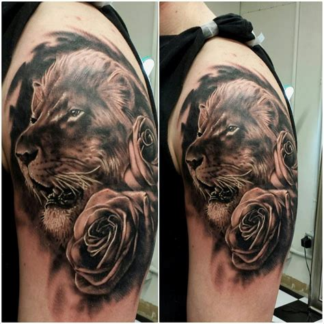 lion rose tattoo black grey tattoos and grayscale tattoos lost