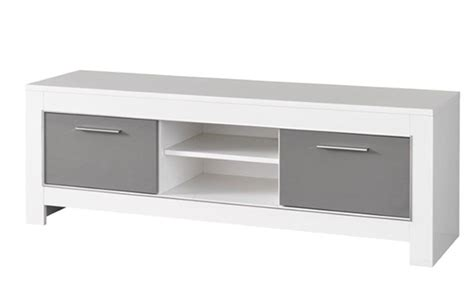 meuble tv modena laqu 233 e blanc grise