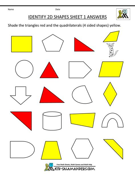 free printable identifying shapes worksheets 2d shapes worksheets