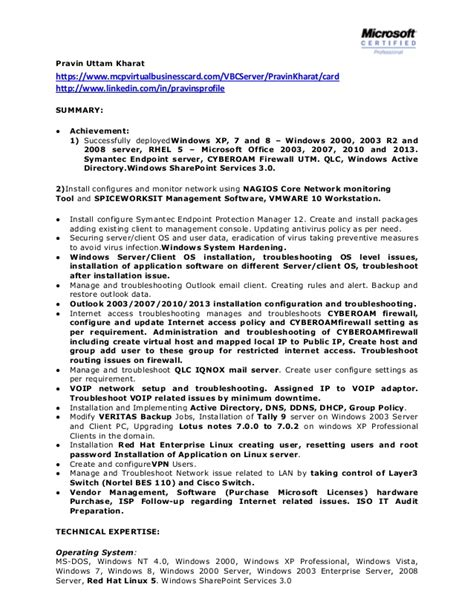 Resume Exles Network Administrator Network System Administrator Cv It Executive Resume