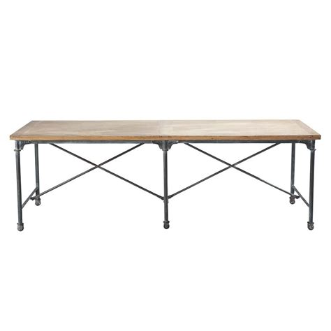 Metal And Wood Dining Table Solid Mango Wood And Metal Dining Table W 240cm Archibald Maisons Du Monde
