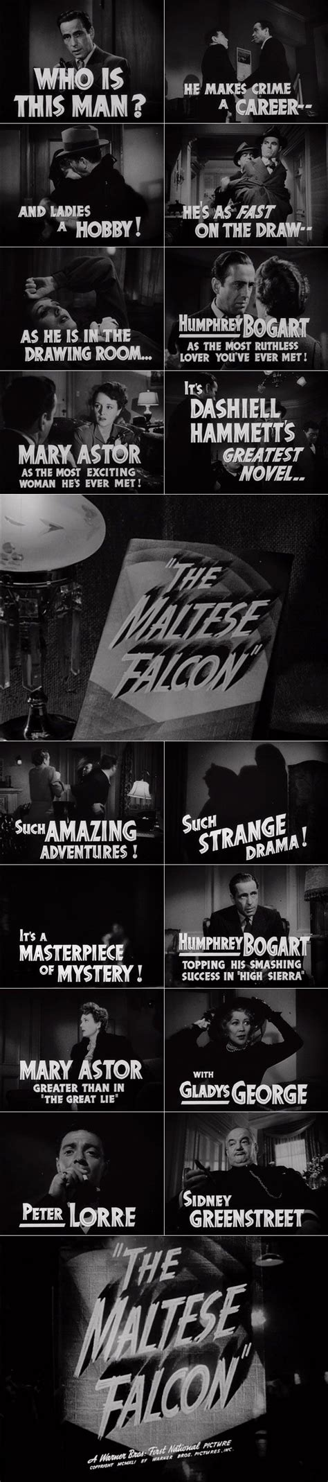 the maltese falcon collectors the maltese falcon 1941 trailer typography the movie title stills collection the maltese