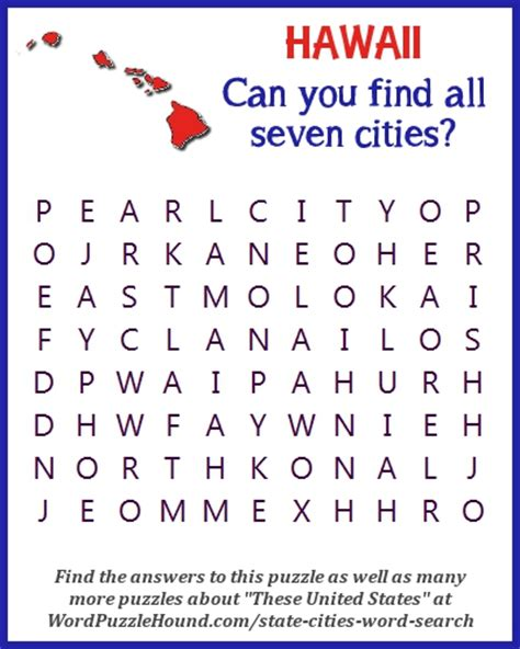 Hawaii Search State Of Hawaii Cities Word Search Word Puzzle Hound