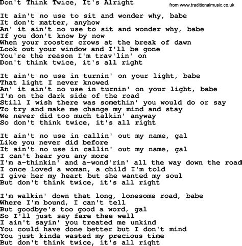 joan baez song don t think it s alright lyrics