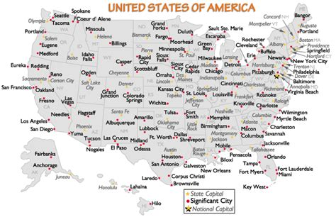 united states major cities and capital cities map
