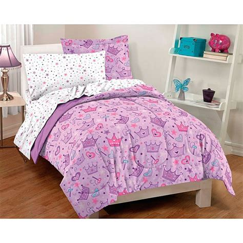 full size bed in a bag sets bed in a bag girls kids full size 7 piece sheet set princess bedroom pink purple ebay