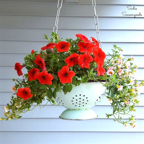 hanging flower planters diy hanging flower basket planter with a repurposed