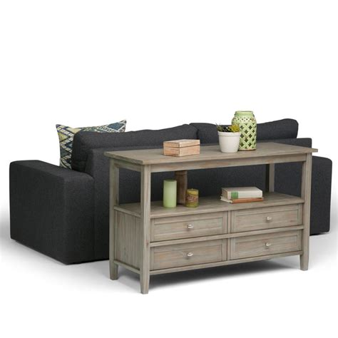 storage sofa table simpli home warm shaker distressed grey storage console