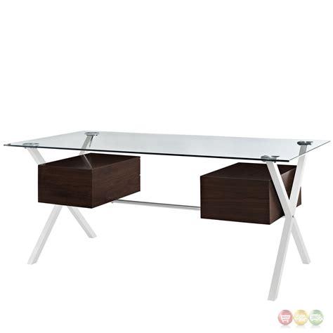 abeyance modern glass top steel office desk  walnut finished drawers walnut