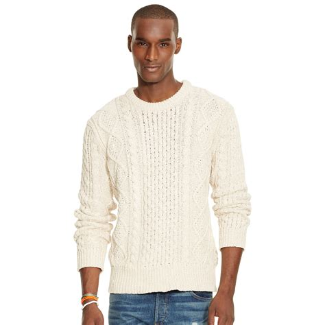 ralph knitted polo polo ralph aran knit cotton sweater in white for