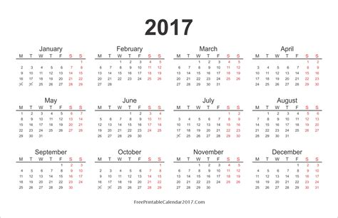 printable calendar year 2017 yearly calendar 2017 monthly calendar 2017