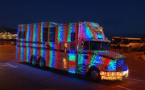 trucks decorated for christmas lenses and wheels light truck parade