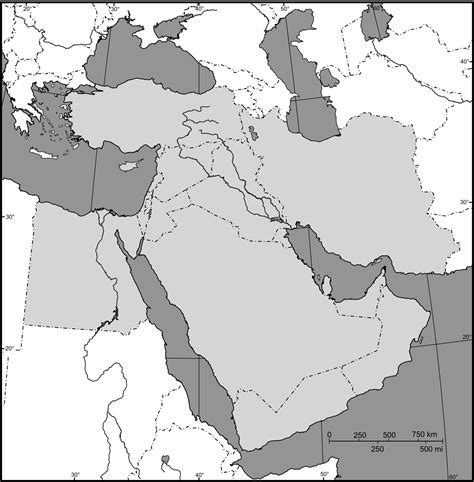 middle east map outline middle east outline map size