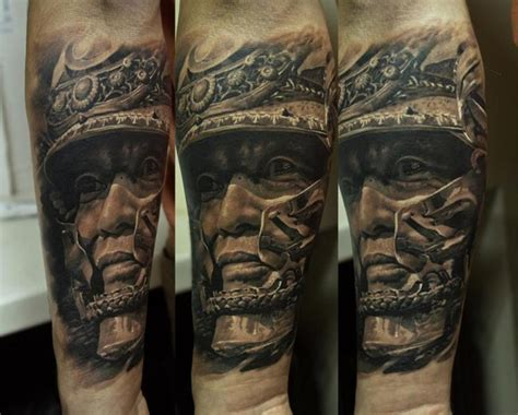 arm realistic warrior tattoo by domantas parvainis
