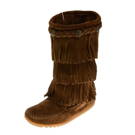 s fringe moccasin boots minnetonka moccasins 2658 children s 3 layer fringe boot