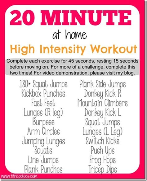 20 minute at home high intensity workout