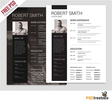Simple and Clean Resume Free PSD Template   PSDFreebies.com