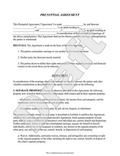 Prenuptial Agreement Form Prenup Template Rocket Lawyer Prenuptial Template Form