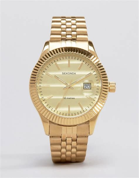 sekonda gold bracelet exclusive to asos in metallic