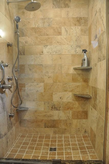 tuscan wave stone shower eclectic bathroom