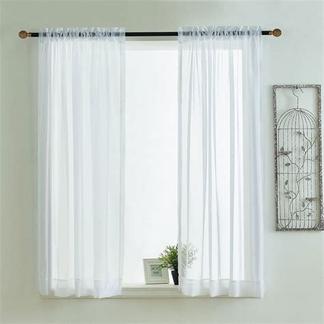 White Valance Curtains Kitchen Curtains Valances Rod Pocket Decorative White Cafe Kitchen Tulle Sheer