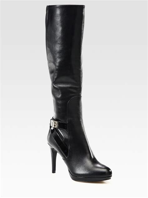 cole haan knee high boots cole haan leather and patent leather knee high boots in