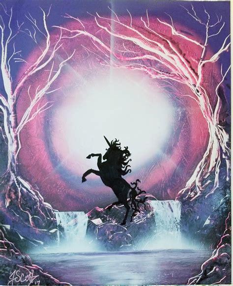 spray paint unicorn spray paint unicorn moonlight 16x20 on posterboard