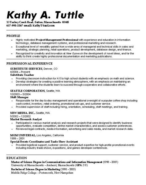 profile on resume example student sample mis format profile on a