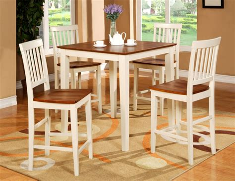 Pub Height Kitchen Table Sets 5pc Square Pub Counter Height Table Set 4 Stools White Ebay