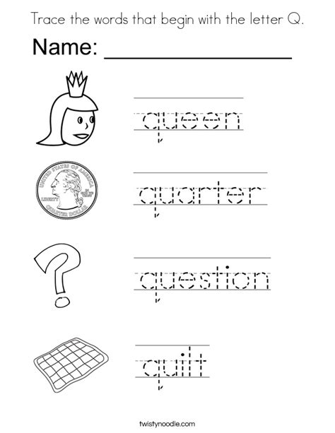 words with q trace the words that begin with the letter q coloring page