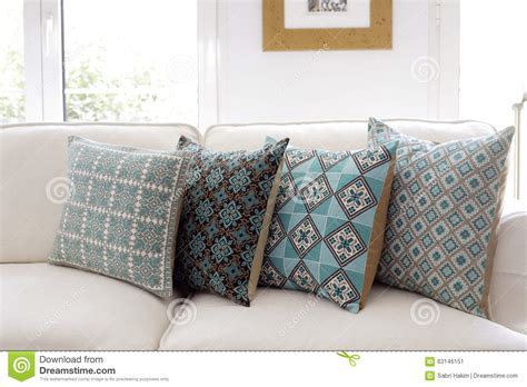 White Sofa Pillows by Handmade Embroidered Pillows On Sofa Stock Image Image