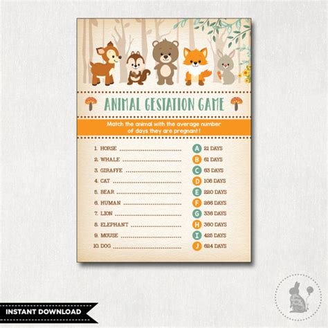 printable animal gestation game woodland baby shower game animal pregnancy game animal