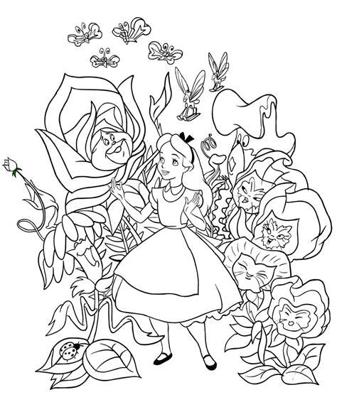 nel paese delle meraviglie fiori disegno di con i fiori cantanti da colorare
