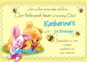 winnie the pooh 1st birthday invitations by