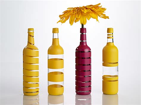 Spray Paint Glass Vases Painted Stripe Wine Bottle Vases My Home My Style