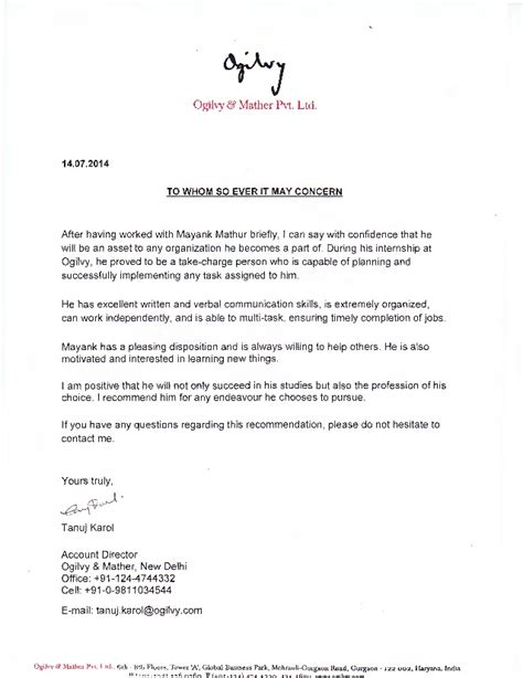 thank you letter to client for recommendation ogilvy client servicing recommendation letter